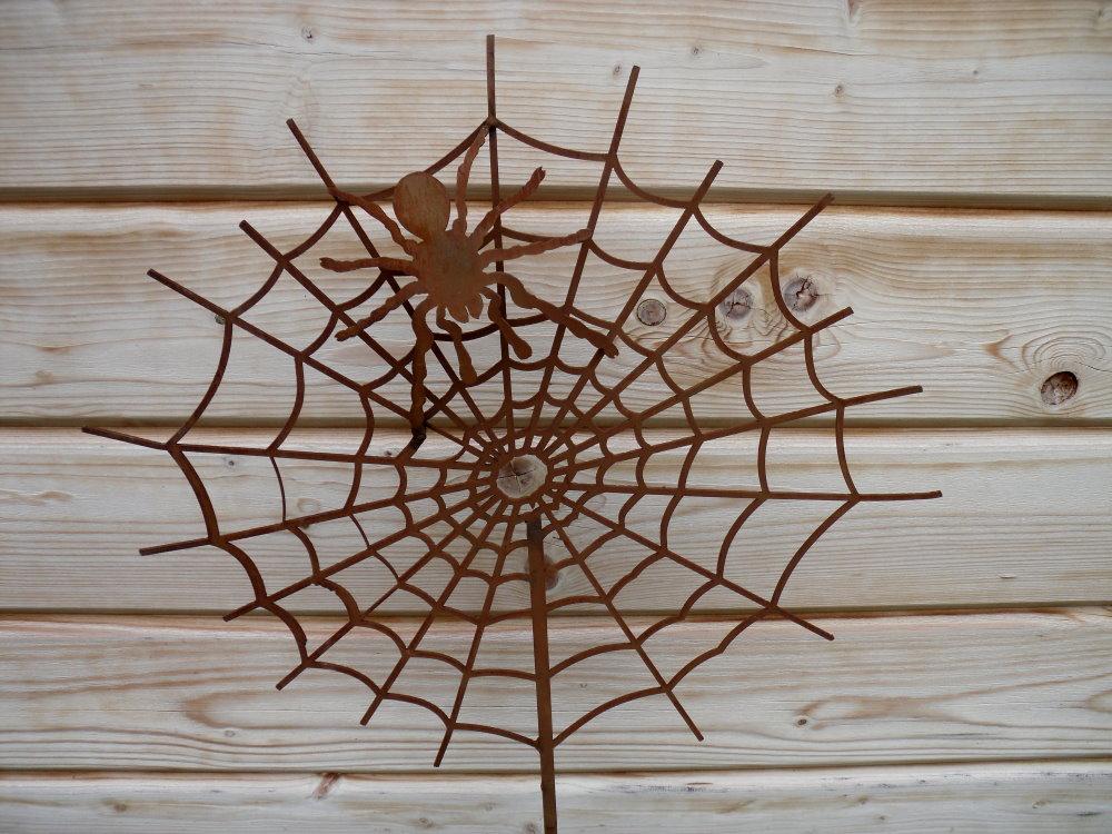 gartenstecker spinnennetz mit spinne aus metall  ebay