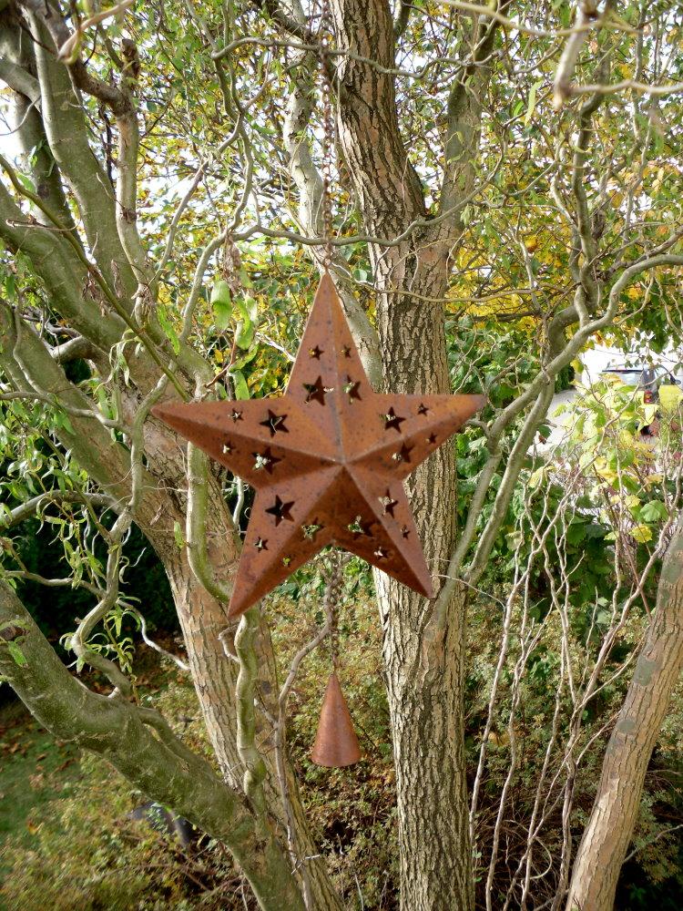 metall stern mit glocke zum h ngen deko fensterdeko weihnachtsdeko ebay. Black Bedroom Furniture Sets. Home Design Ideas