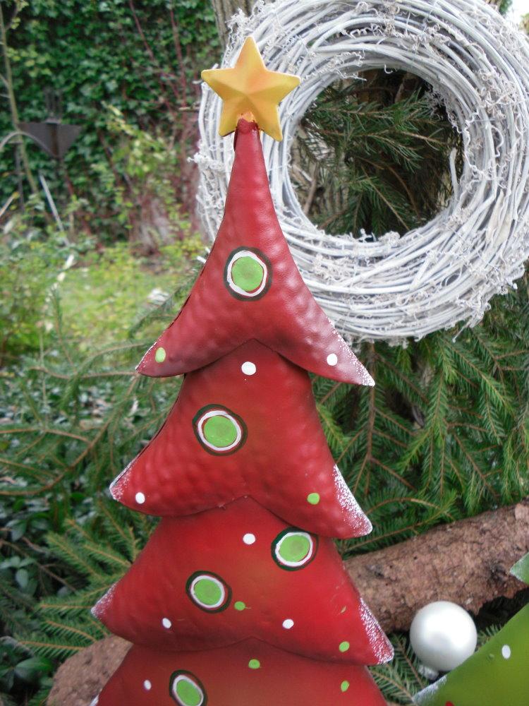 tanne weihnachtsbaum aus metall gr n 62 cm deko handbemalt weihnachten ebay. Black Bedroom Furniture Sets. Home Design Ideas